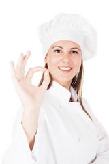 Girl in chef unigorm