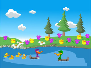 Wall Murals River, lake Nature landscape with ducks in the lake