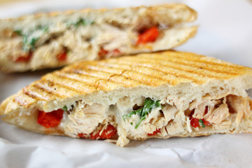 Delicious chicken panini sandwich.