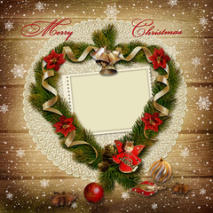 Stamp-frame with wreath of pine branches on  wooden background
