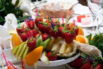 Fruit plate on restaurant table