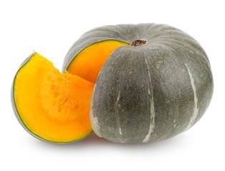 green pumpkin with orange slice