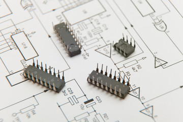 Microchip on one electronic diagram