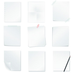 collection of memo papers isolated on white background