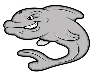 Angry Dolphine Mascot Tattoo