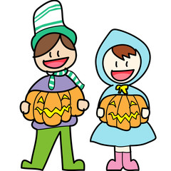 halloween cartoon charactor hand draw