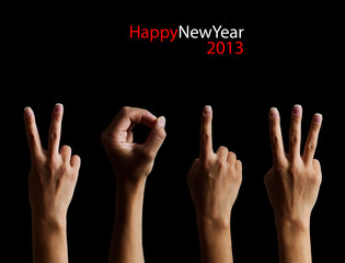 The number 2013 shown by fingers in creative New Year greeting c