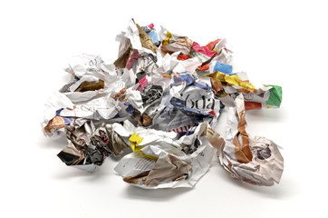 Crumpled paper balls and thrown