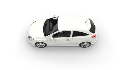 White Modern Compact Car Top Side View