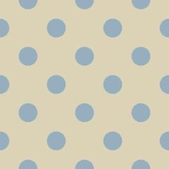 Blue polka dots beige background seamless vector pattern - 45925820