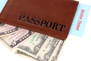 Passport and ticket close-up