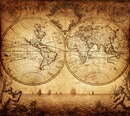 Photo sur Toile Carte du monde vintage map of the world 1733