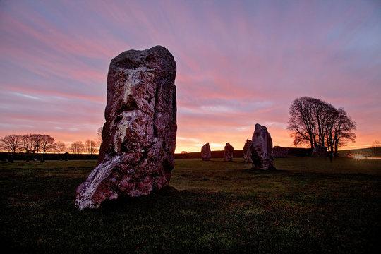 Avebury Stone Circle and Henge at sunrise Wiltshire England UK