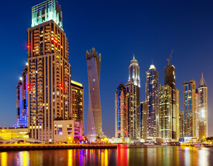 A view of Dubai Marina, Dubai, UAE at Dusk