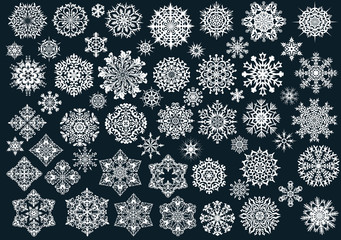 white snowflakes collection on dark background