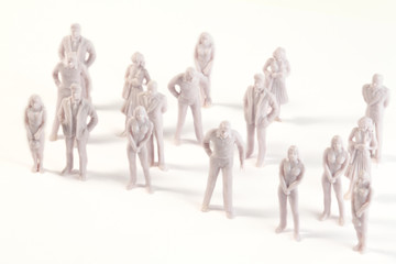 Miniature monochrome toys of human