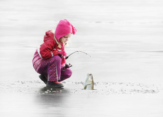 Printed roller blinds Fishing Little child fishing on a frozen lake in winter.