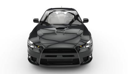 Black Race Car Top Front View