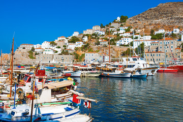Wide view of Boats in row in port Hydra Island at Saronikos Gulf