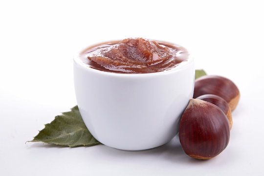 isolated bowl of chestnut spread