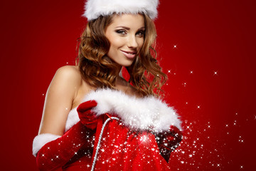 c869a9f46d4c3 Portrait of beautiful sexy girl wearing santa claus clothes