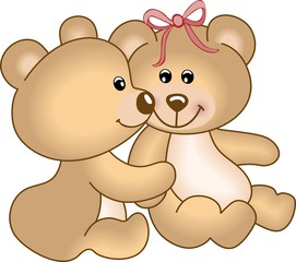 Acrylic Prints Bears Teddy bears in love