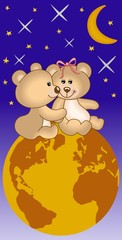 In de dag Beren Teddy bears in love under the universe