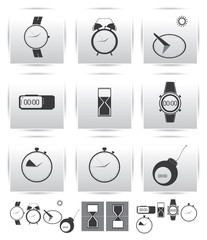 Vector set icons. Time and clock. watch