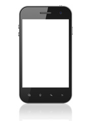 Beautiful smartphone on white background. Generic mobile smart p