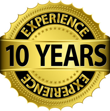 10 years experience golden label with ribbon