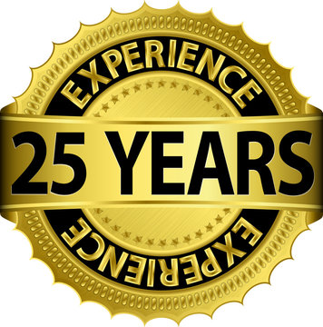 25 years experience golden label with ribbon