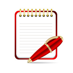 Vector Red pen and notepad icon