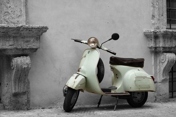 Foto op Canvas Scooter Vespa B&W