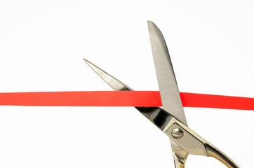 rotes Band und Schere
