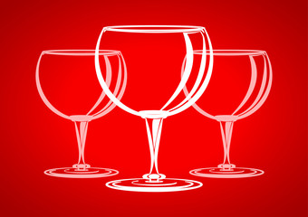 Three glasses red background