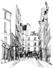 Poster Illustration Paris street near Montmartre in Paris