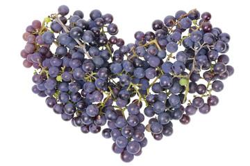 Vine grapes heart concept