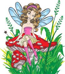 Photo sur Plexiglas Monde magique Little fairy sitting on the mushroom
