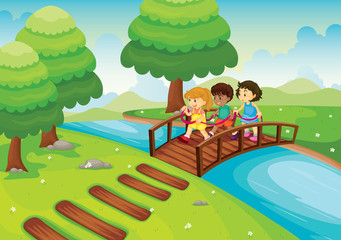 Canvas Prints River, lake kids crossing bridge