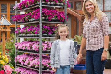 Mother and child in garden centre