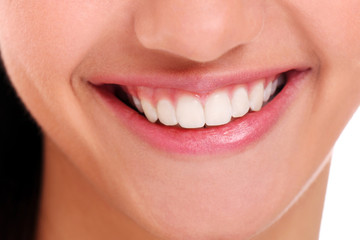 Closeup of beautiful woman smile