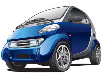 blue subcompact car