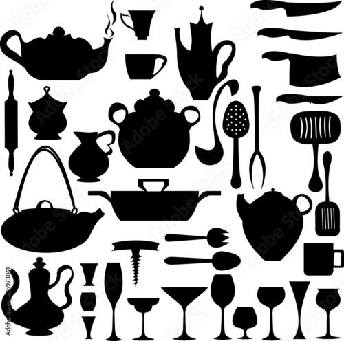 Fichier vectoriel libre de droits sur la for Utensilios y materiales de una cocina de restaurante