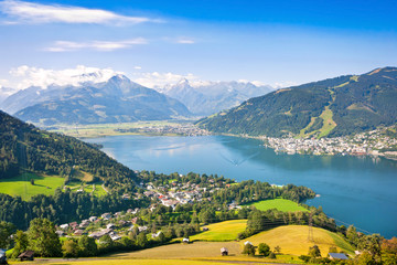 Panoramic view of Zell am See in Salzburg, Austria
