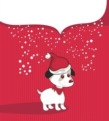 Poster Dogs Christmas Background With Puppy