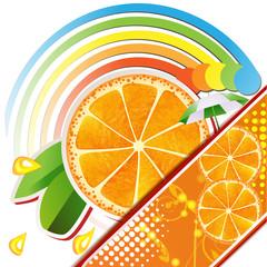 Slices orange with leaves ,juicy fruit