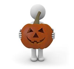 man with a pumpkin