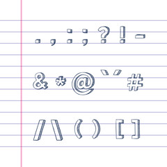 Several hand drawn text symbols on lined paper