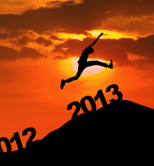 Photo sur Plexiglas Rouge 2013 silhoutte jump new year