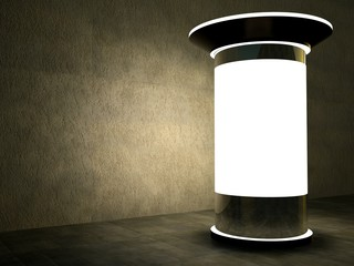 3d blank advertising column at night